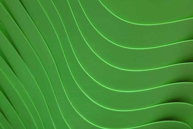 背景の森の緑の色のアクリル容器のスタックの曲線