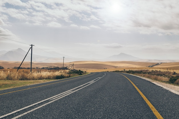 Curvy countryside road in south africa in spring season