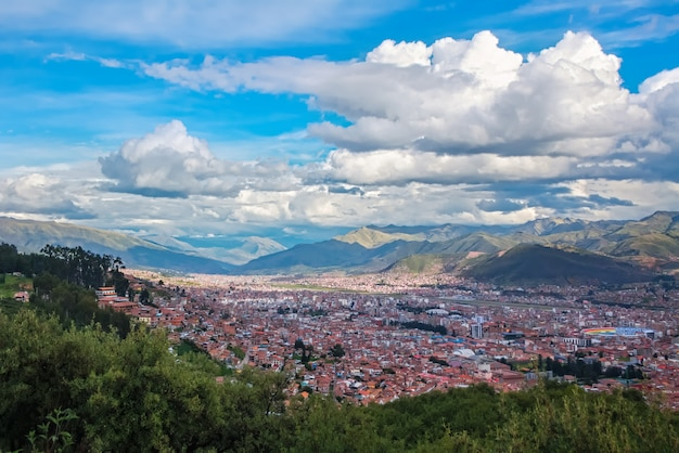 Cusco, view of centre and cityscape of city and mountains from above, peru, south america