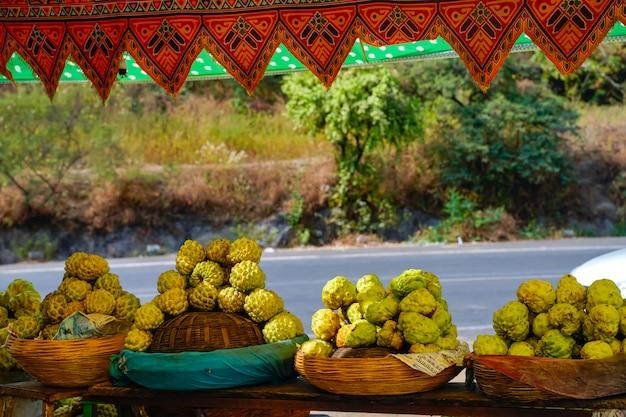 Custard apple bunch in fruit shop