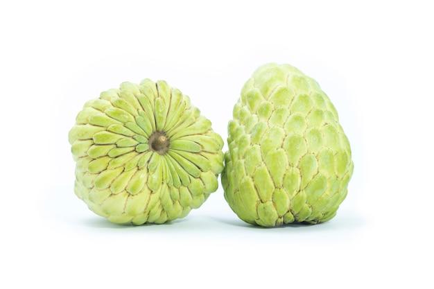 Custard apple on white background. fresh custard apple thai fruit. sugar apple (custard apple, annona, sweetsop).
