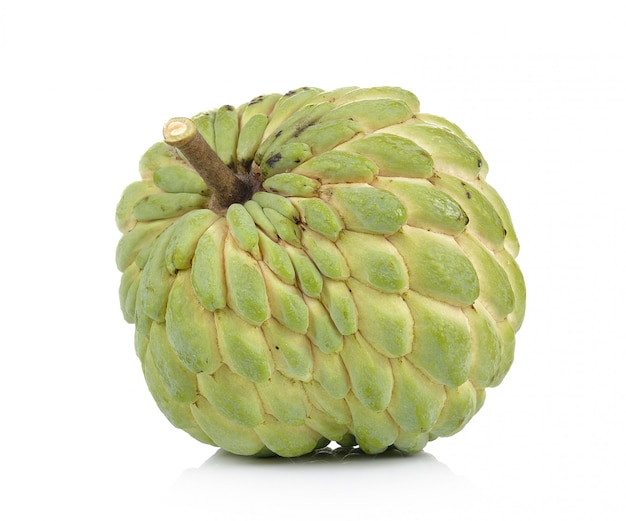 Custard apple on white wall