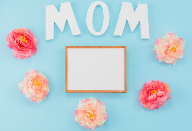 Custom frame with peonies and letters mom