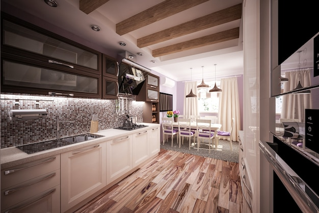 Кухня на заказ 3d модель кухня в доме