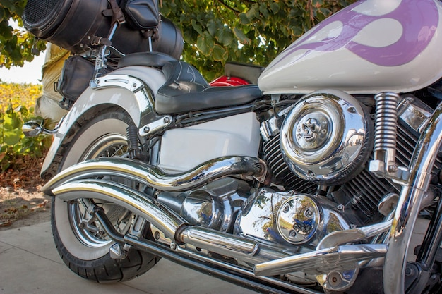 カスタムバイク、エンジンのディテールとクロームが見え、美しい自然の背景。