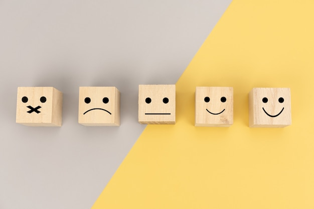 Customer can choose a happy face.  service, survey, rate, feedback communication concept