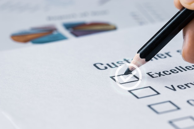 Customer checklist survey exellent form for feedback satisfaction mark over application blue forms document with red pencil. opinion question circle botton for filling checkmark for business
