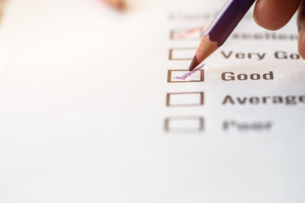 Customer checklist survey exellent form for feedback satisfaction mark over application forms document