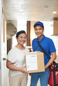 Customer and delivery man