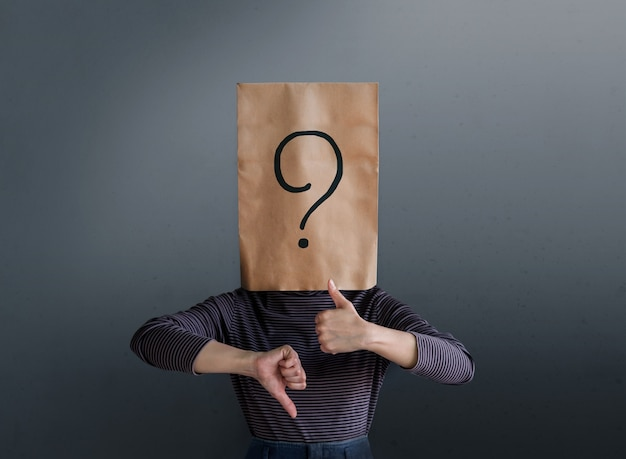 Customer experience concept. client woman with question mark icon on paper bag