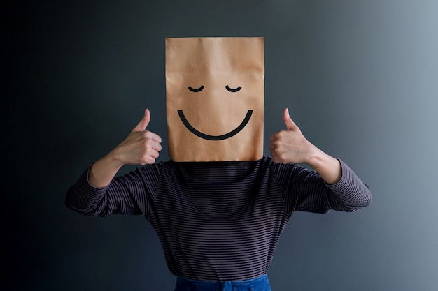 Customer experience or human emotional concept.