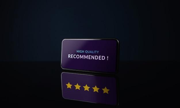 Концепция клиентского опыта. пятизвездочный рейтинг отражается на тени. положительный отзыв о смартфоне. онлайн-опрос удовлетворенности с помощью мобильного телефона