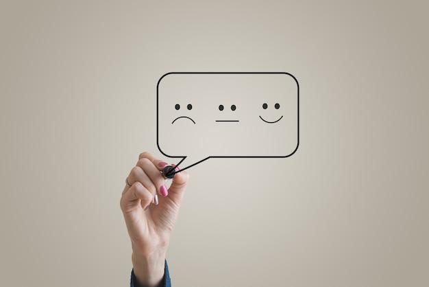 Концептуальное изображение отзывов клиентов с улыбающимся, грустным и нейтральным лицом, нарисованным в речевом пузыре.