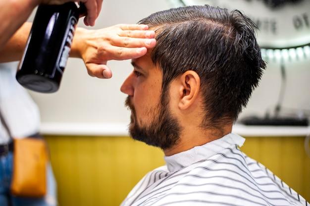 Customer getting his hair wet