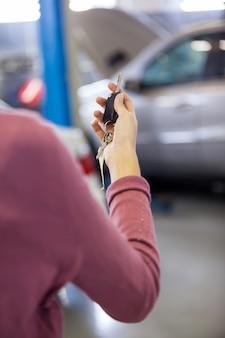 Customer holding keys