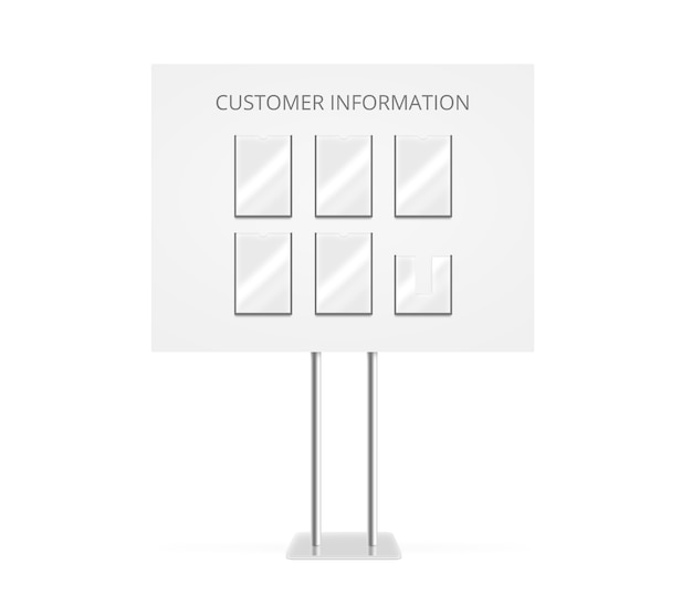 Customer information board mock up stand isolated.