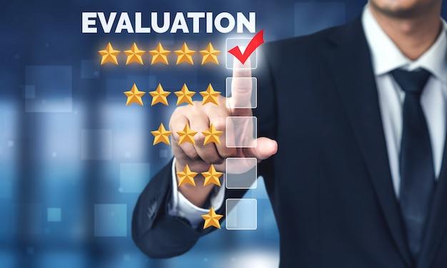 Customer review satisfaction feedback survey concept.