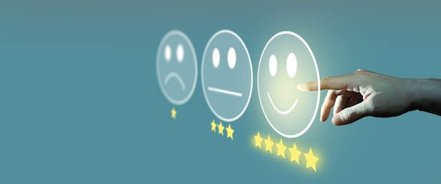 Customer satisfaction survey and customer service evaluation concept