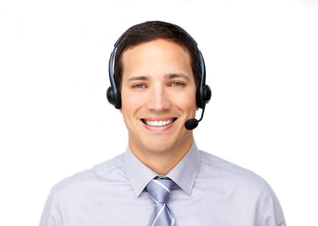 Customer service agent using headset