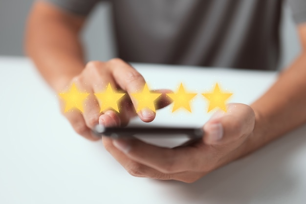 Customer service experience and business satisfaction survey rating of company concept