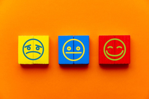 Customer service experience and satisfaction survey concept with facial expressions negative, neutral and positive on wooden cube on table, orange background