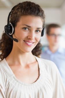 Customer service operator wearing headset