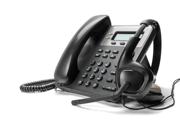 Customer service support, call center concept. voip headset headphones