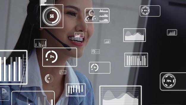 Customer support call center provide data in conceptual vision