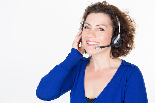 Customer support phone woman operator in headset w