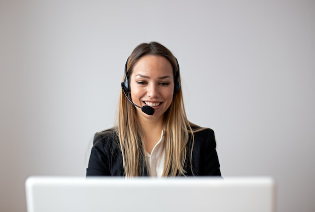 Customer support woman in office