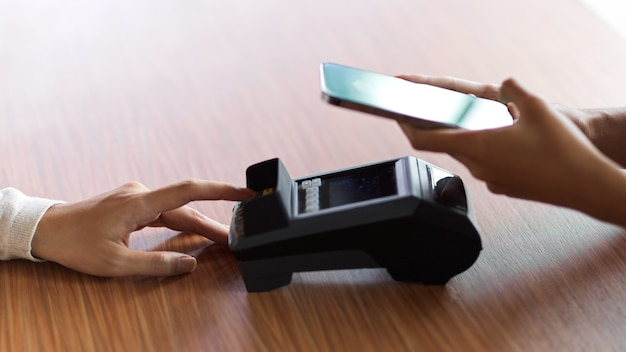 The customer using internet banking application for payment and get a receipt by payment terminal