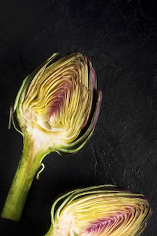 Cut artichoke extreme close up