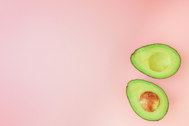 Cut avocado in pink