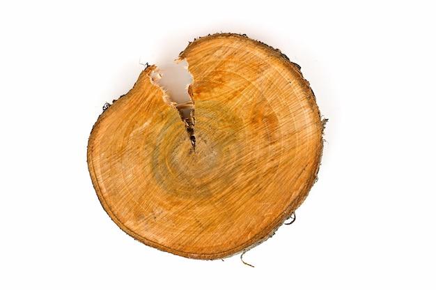 Cut of a cracked wood saw cut