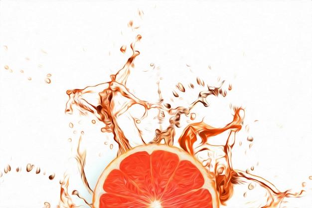 Разрезать грейпфрут в брызгах красного сока