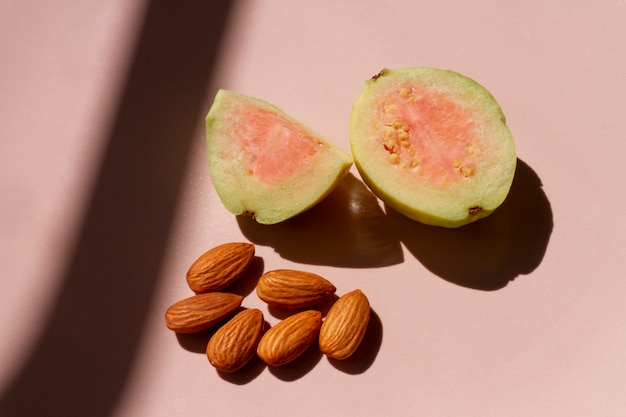 Cut guava fruit with almonds