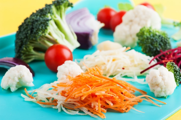 Cut ingredients for salad, soup, smoothie