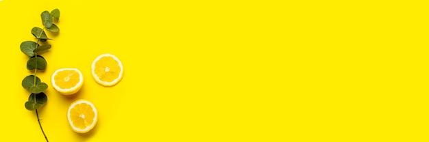 На желтом фоне нарежьте лимон, дольки лимона и веточку эвкалипта.