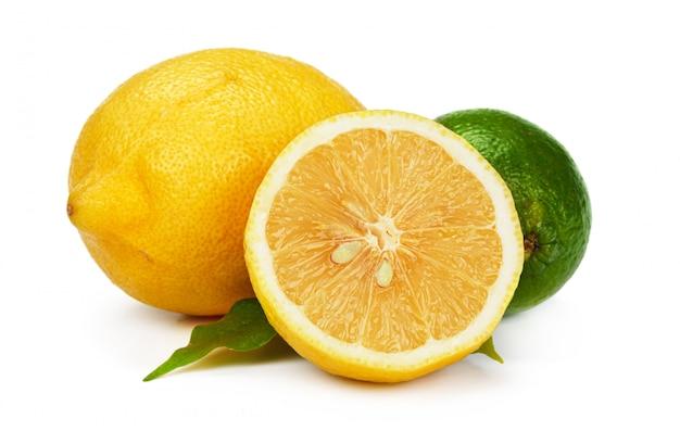 Cut lemon slice isolated on white