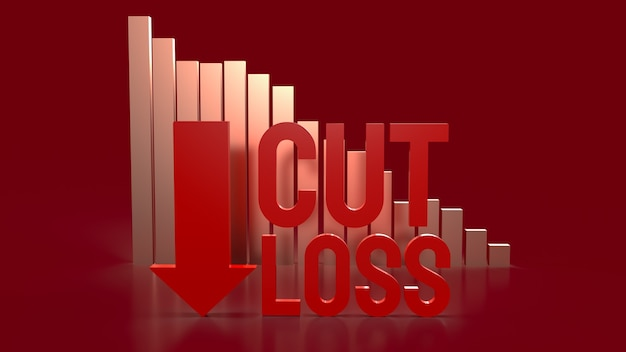 The cut loss red text and chart  for business content 3d rendering.
