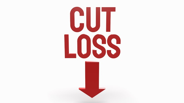 The cut loss red text on white background  for business content 3d rendering.