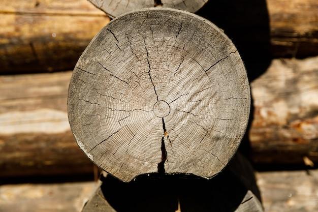 木造住宅の丸太のクローズアップのカット。高品質の写真