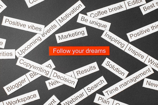 Cut paper inscription follow your dreams on a red background, surrounded by other inscriptions on a dark background. word cloud concept.