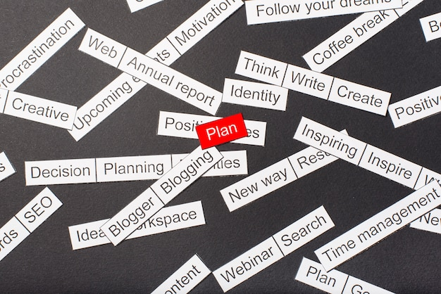 Cut paper inscription plan on a red space, surrounded by other inscriptions on a dark space. word cloud concept.
