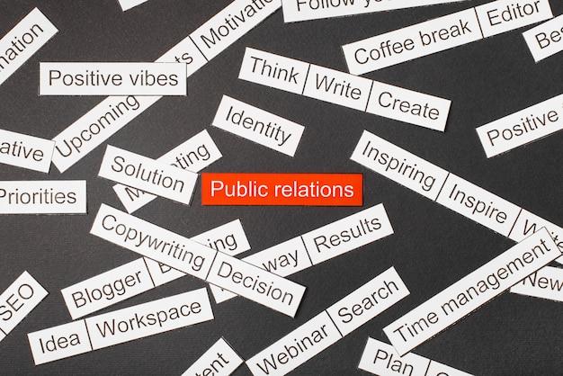 Cut paper inscription public relations on a red background, surrounded by other inscriptions on a dark background. word cloud concept.
