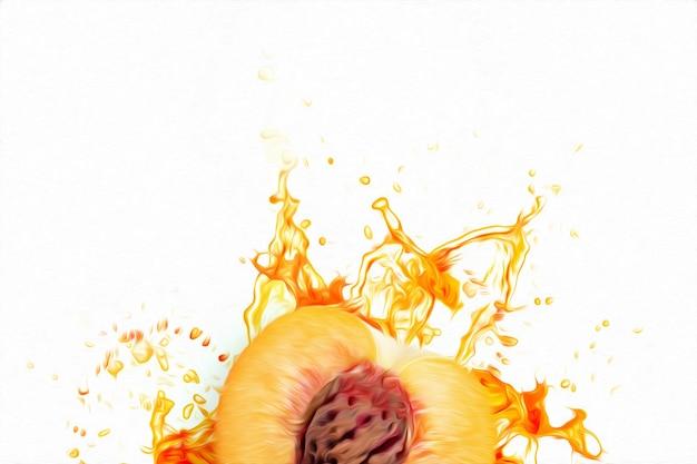Разрезать плоды персика в брызгах апельсинового сока