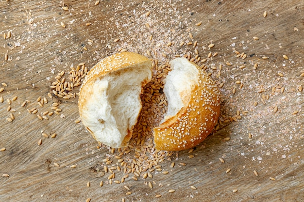 Cut pieces of bun bread flat lay