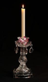 Сократить стеклянной призмы хрустальный подсвечник свечу