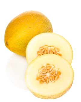 Cut ripe melons on white