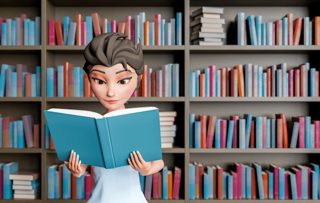 Милая 3d девушка читает персонаж в библиотеке